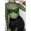 Female All Over Fire Printed Long Sleeve Sheer Gauze Bodysuit Rompers