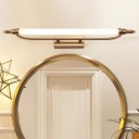 Acrylic Cylinder Vanity Mirror Light Mid Century Modern Led Wall Lighting in Antique Brass