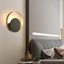Gold Round Wall Light Fixture Mid Century Modern Single Light Led Sconce Lighting