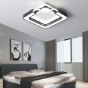 Metal and Acrylic Round/Square Ceiling Lamp Contemporary Led Flush Ceiling Light in Black