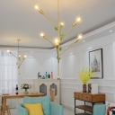 Gold/Rose Gold Branch Suspension Lamp Mid Century Modern Metal 3/6 Lights Hanging Pendant Light