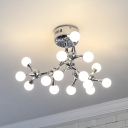 Sputnik Semi Flushmount with Mini Ball Opal Glass Shade Modern Metal Flush Lighting in Chrome