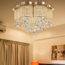 Floral Flushmount Lighting with Clear Crystal Flower Modern Indoor Flush Lamp, 19.5