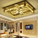 Rectangle Hotel Restaurant Ceiling Mount Light Clear Crystal Contemporary LED Ceiling Fixture with Flower