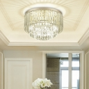 Office Hallway Drum Ceiling Lamp Clear Crystal Modern 3/4 Lights Chrome LED Ceiling Lamp