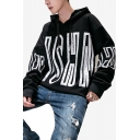 Mens Simple Fashion Letter Printed Long Sleeve Oversized Drawstring Pullover Hoodie