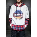 Mens Popular Fashion Coconut Tree Graphic Printed Plaid Patched Fake Two-Piece Long Sleeve Casual Hoodie