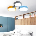 Multi-Colored Round Flush Light Macaron Acrylic 3/4/5 Lights Ceiling Light Fixture for Kids Room Bedroom, Warm/White