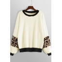Stylish Round Neck Leopard Pattern Long Sleeves Loose Leisure Apricot Sweatshirt
