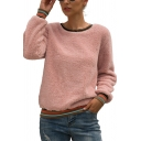 New Fashion Stripe Trim Patchwork Round Neck Long Sleeve Relaxed Fluffy Teddy Sweatshirt