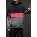 Men's Cool Colorblock Print Long Sleeve Casual Loose Drawstring Pullover Hoodie