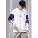 Men's Hot Trendy Simple Letter Colorblock Print Long Sleeve Round Neck Pullover Sweatshirt