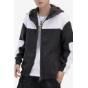 Men's New Fashion Colorblock Plush Coat Casual  Warm Zip Up Hoodie