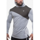 Men's New Arrival Colorblock Print Long Sleeve Sports Fitted Pullover Hoodie