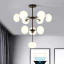 Modern Oval Hanging Ceiling Light with Radial Design White Glass Shade Chandelier in Black