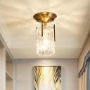 Modern Cylinder Glass Semi Flush Mount Light Fixture 1-Light Foyer Ceiling Fixture in Brass
