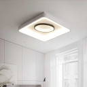 Square/Rectangle Ceiling Flush Light with White Metal Shade Nordic Led Surface Mount Ceiling Light