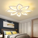 Modern Flower Ceiling Light Fixture Metal and Acrylic Led Flush Ceiling Light in White