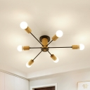 Radial Semi Flush Lighting Mid Century Modern 6/8/10 Light Metal Black/White Ceiling Light in Wood