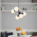 White Glass Modo Pendant Light with Adjustable Cord Modern 5/9/15 Lights Chandelier Lighting in Black/White