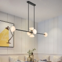 6/10 Lights Linear Hanging Light with Cone Opal Glass Shade Contemporary Kitchen Lighting in Gold