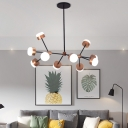 Mid Century Modern Sputnik Pendant Light with Drum Shade Metal 10/12 Lights Island Lighting in Gold