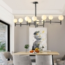 10 Lights Globe Kitchen Island Light Modern Frosted Glass Hanging Ceiling Light in Black/Gold/White