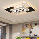 Modern Square/Rectangle Flush Ceiling Light Metal Led Black and White Flushmount Lighting in Warm/White, 16