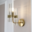 1 Light Tube Wall Sconce Modern Luxurious Metal Gold Wall Lamp with Clear Crystal for Hallway