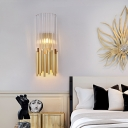 Metal Crystal Tube Wall Light Luxurious Modern G9 2 Heads Wall Sconce Light in Brass/Gold for Living Room