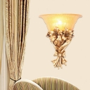 Floral Wall Sconce Lamp Rustic Single Light Indoor Gold Wall Lighting with Flared Opal Glass Shade