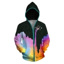 New Arrival Unisex 3D Colorful Galaxy Printed Long Sleeve Zipper Photoelectric with Switch Hoodie