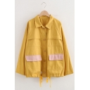 Girls Casual Lapel Collar Colorblocked Flap Pocket Drawstring Hem Cargo Jacket