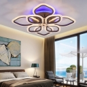 Floral-Themed LED Ceiling Lamp Contemporary Acrylic Flush Mount Light in Brown for Bedroom