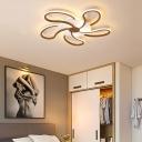 Brown Flower Ceiling Flush Light Modern Metal Shade 5/6/7 Lights Led Indoor Lighting in Warm/White