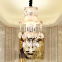 Frosted Glass Scalloped Hanging Light Modern 3 Lights Ceiling Chandelier with Clear Crystal Bead