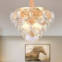 Multi Layer Hanging Ceiling Light with Prismatic Glass Shade Modern Indoor Pendant Light in Gold