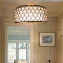 Bronze Drum Flush Lighting Industrial Metal Frame 3 Lights Flush Mount Lamp with Crystal Bead