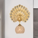 Loft Style Peacock Wall Mount Light Single Light Resin Wall Lighting with Crystal Shade for Living Room, 8