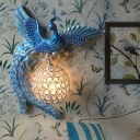 Loft Style Right/Left Peacock Wall Sconce Lamp with Orb Lampshade 1 Light Resin Indoor Wall Lamp in Blue/Gold/White