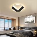 V Pattern Flush Mount Fixture Simple Acrylic LED Black-White Flush Mount Ceiling Light in Warm/White, 16