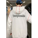 DEEPINSIDE Letter Printed Back Contrast Stitching Oversized Pullover Hoodie with Pocket