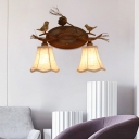 Rustic Wall Mount Light with Scalloped White Fabric Shade 2/3 Lights Indoor Wall Sconce for Bedroom