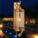 Traditional Cylindrical Wall Lamp Clear Crystal 1/3 Bulbs Outdoor Sconce Light in Gold