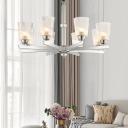 Modern Cone Ceiling Pendant Light 6 Lights Height Adjustable Clear Swirl Glass Chandelier Light in Chrome