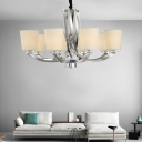 Modern Cone Hanging Chandelier Lighting Fabric Shade 6 Lights Indoor Pendant Lamp in Chrome