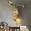 Gold Deer Wall Mounted Light with Gourd Crystal Shade 1 Light Resin Loft Sconce Light