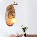 Right/Left Deer Wall Mounted Lighting with Yellow Crackle Glass Shade 1 Bulb Vintage Wall Lamp in Brown/Yellow/White/Gold