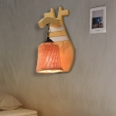 Wood Handmade Wall Lighting Single Light Asian Wall Sconce Light for Restaurant