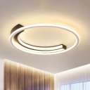 Circle Ring Flush Mount Ceiling Light Contemporary Integrated Led Flush Lamp in Black, Warm/White Light
